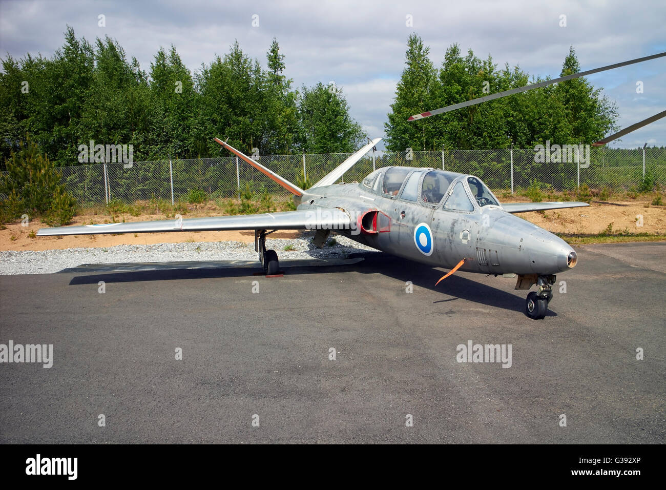 Fouga CM-170 Magister on display, Finland - Stock Image