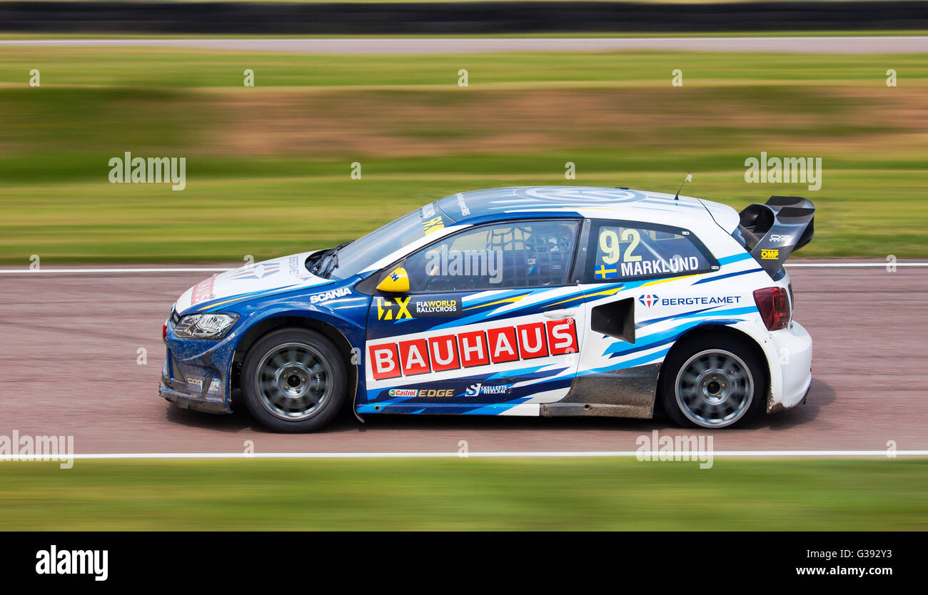 World Rallycross racing, VW Polo driven by Anton Marklund, with a rear wheel puncture. - Stock Image