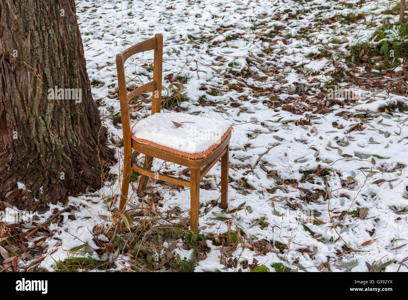 chair under snow - Stock Image