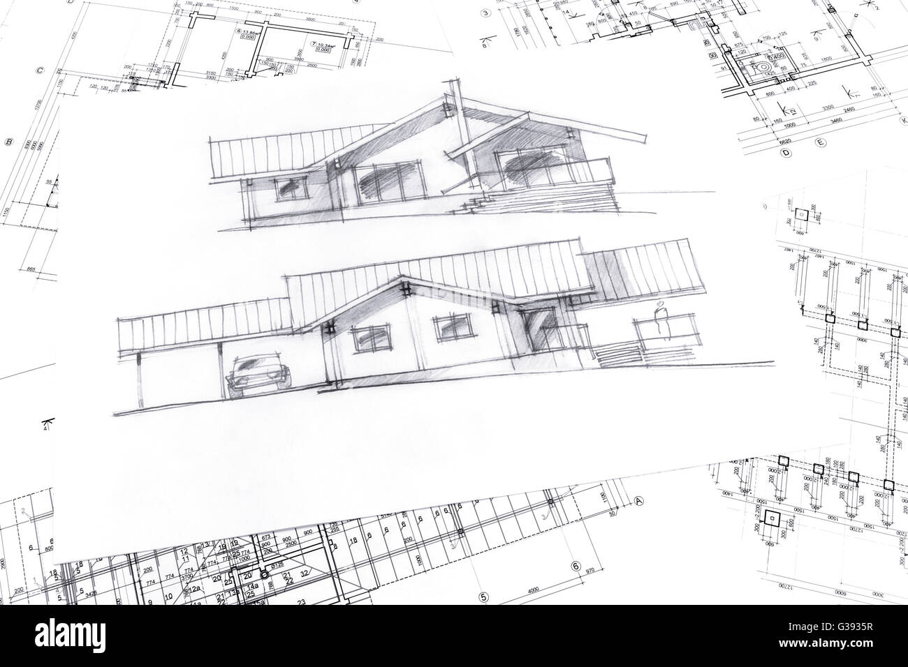 Top view of architecture hand drawn sketch and house plan blueprints top view of architecture hand drawn sketch and house plan blueprints malvernweather Image collections