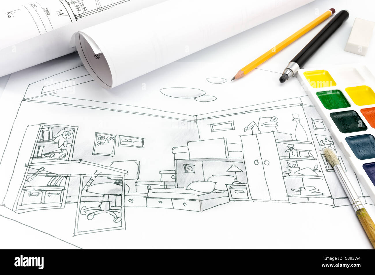 Living Room Plan And Drawing Tools On A Designers Desk