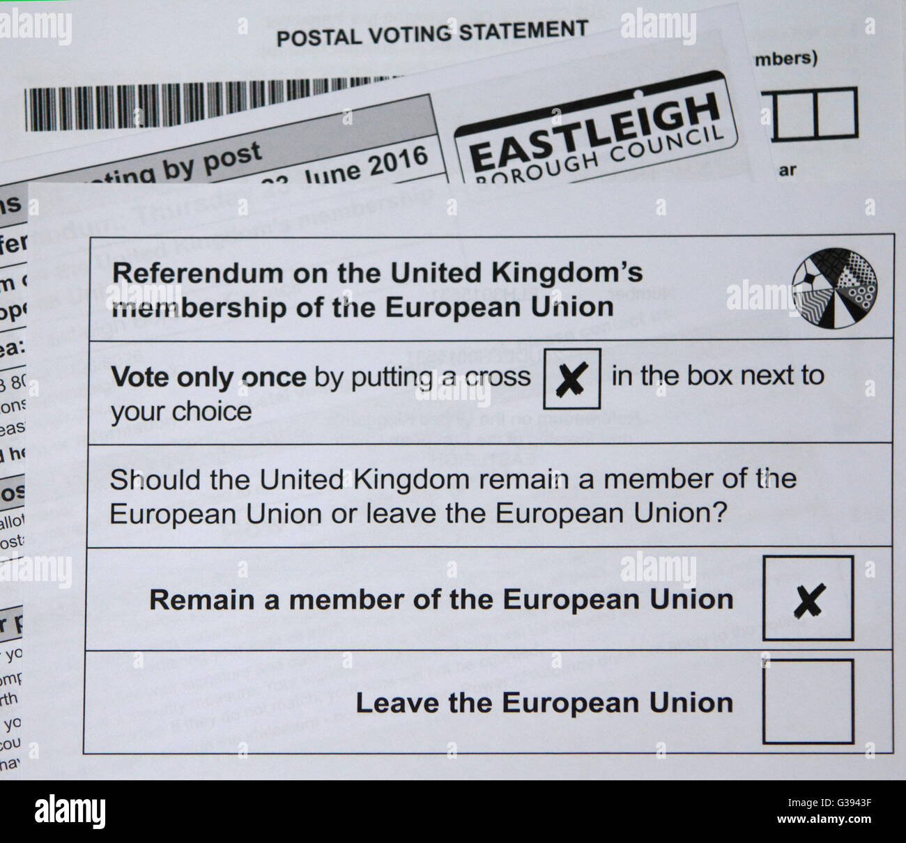 2016 UK European Union Referendum Postal Vote Ballot Paper - Stock Image