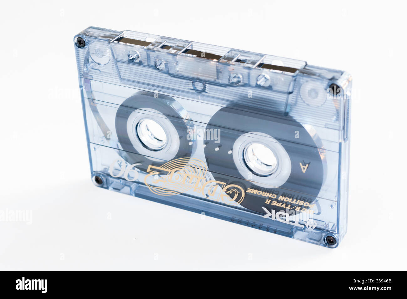 Cassette tape a magnetic tape recording format for audio recording and playback made by TDK in the 1980s - Stock Image