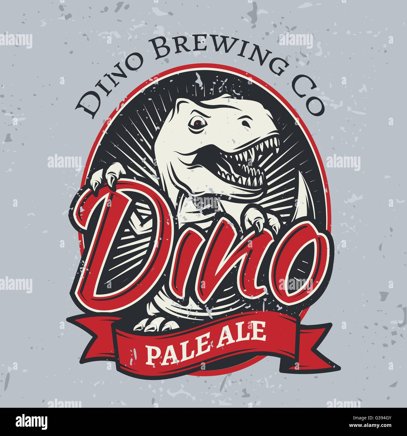 t rex brewery insignia design pale ale label template vector stock