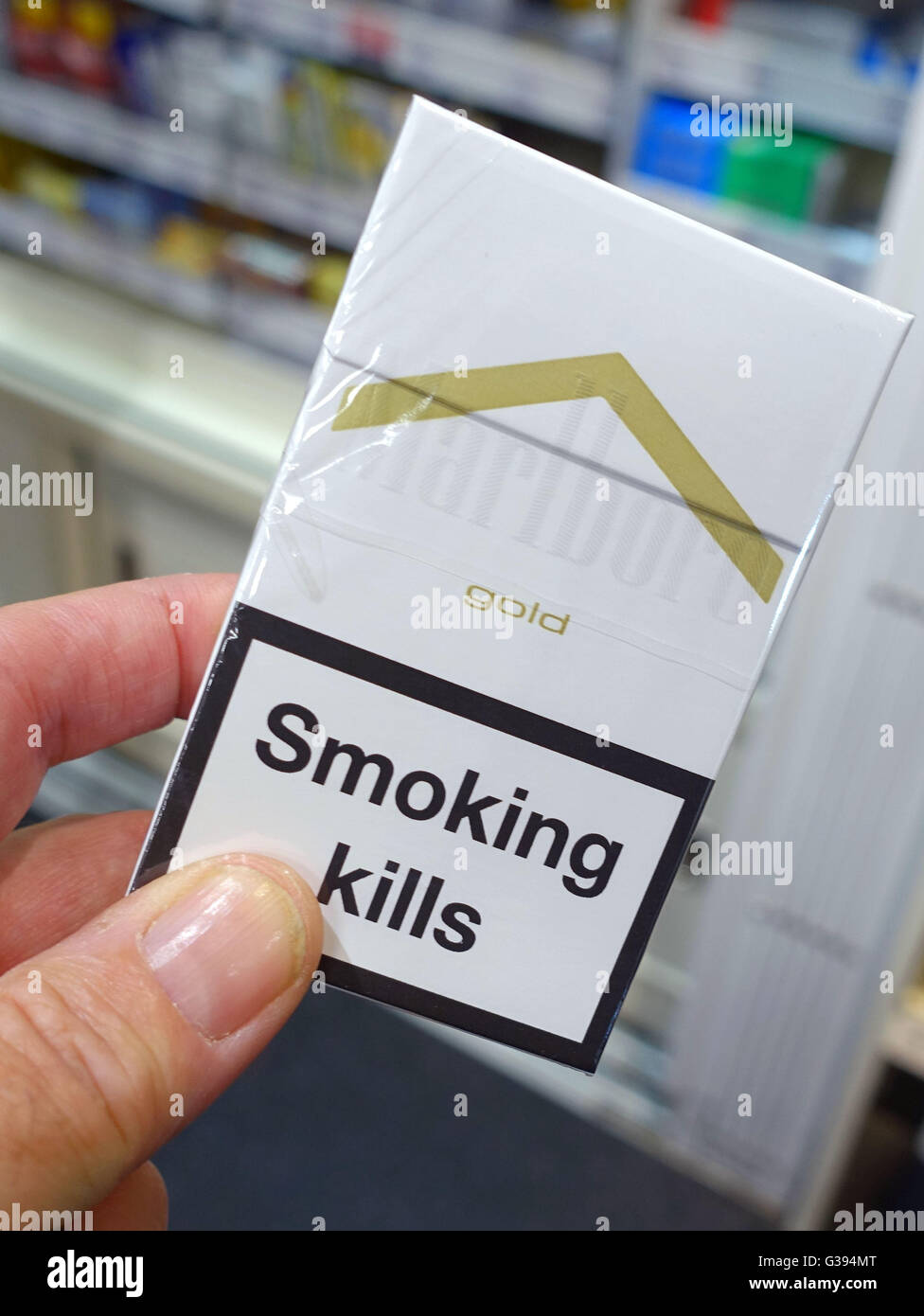 Cigarette packets without branding are being introduced, London - Stock Image