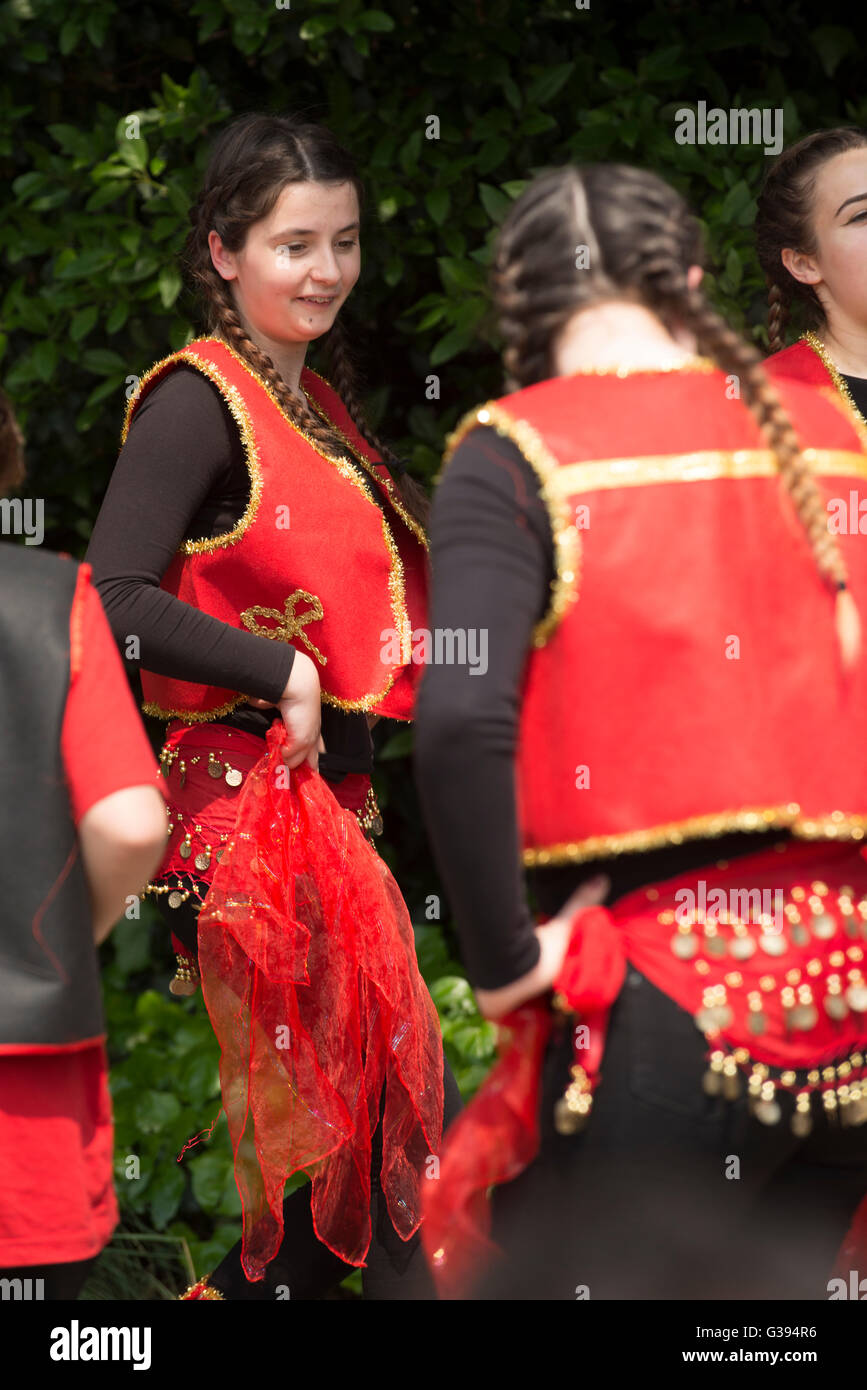 London Golders Green Childs Hill Park Albanian Community Childrens' Day Festival young girls teenagers dancing national Stock Photo