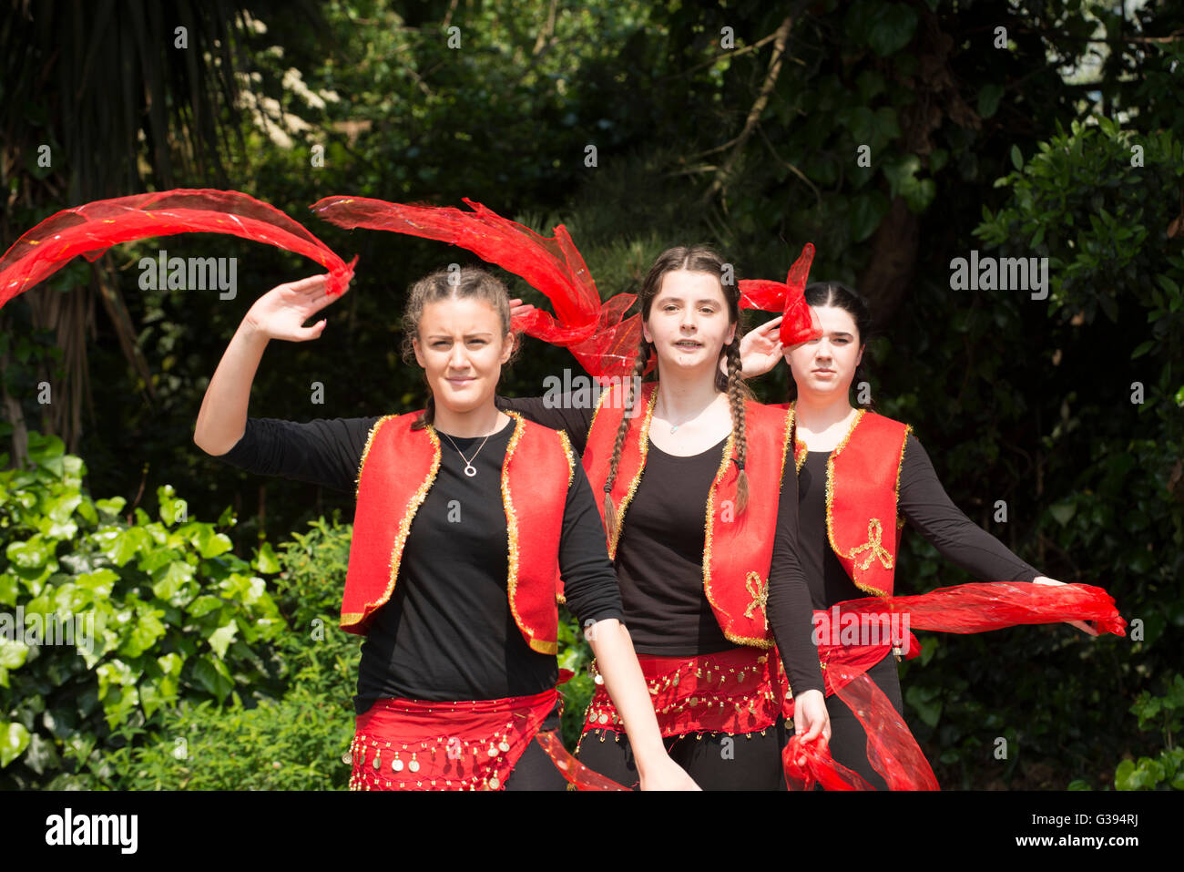 London Golders Green Childs Hill Park Albanian Community Childrens' Day Festival young teenagers national costume - Stock Image