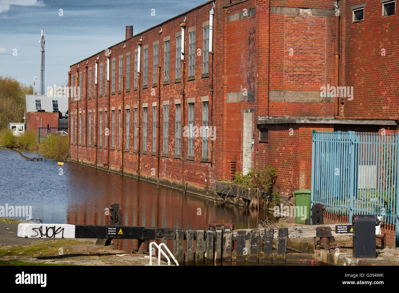 Castletown Rochdale industrial industry mills line the Rochdale Canal locks Business industrial unit estate building - Stock Image