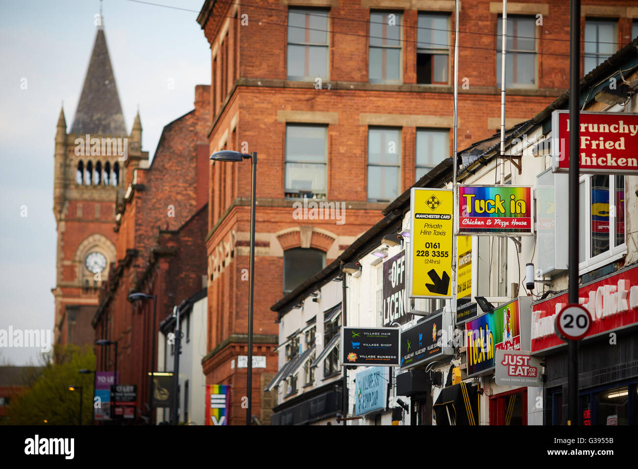 Manchester gay village   Take away shops int eh village - Stock Image