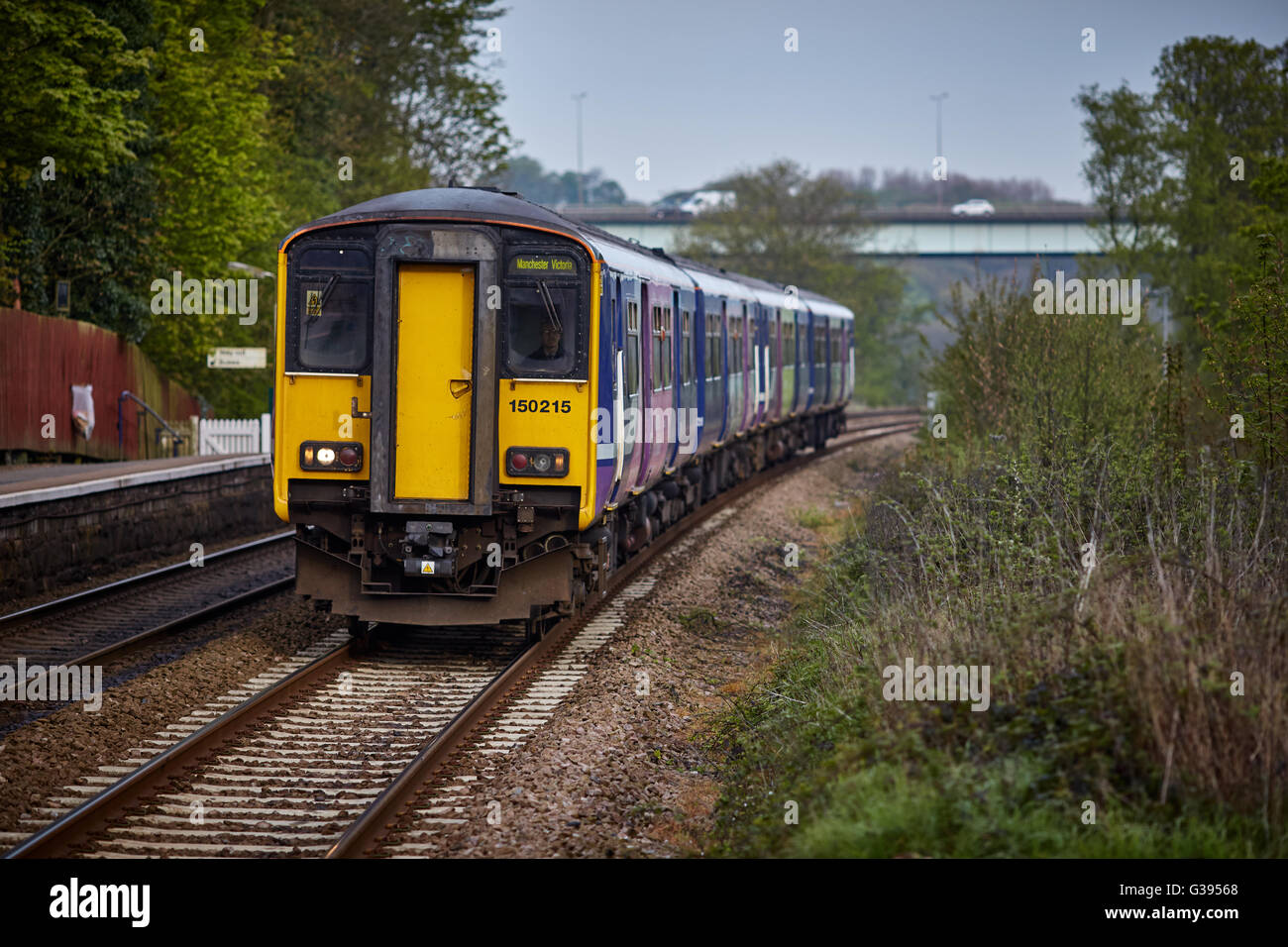 train transport wigan station Gathurst  On the outskirts of the Metropolitan Borough of Wigan, Greater Manchester, - Stock Image