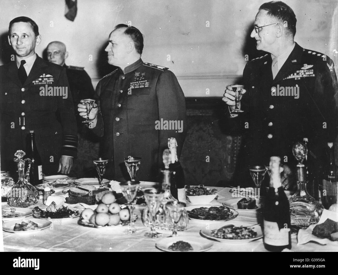 (L-R) Air Chief Marshal Sir Arthur Tedder, Deputy Supreme Commander Allied Forces, Field Marshal Georgy K. Zhukov, - Stock Image