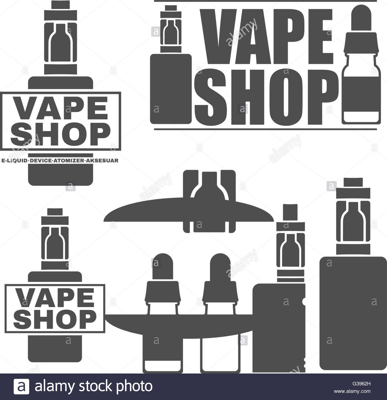 logos of electronic cigarettes Stock Vector