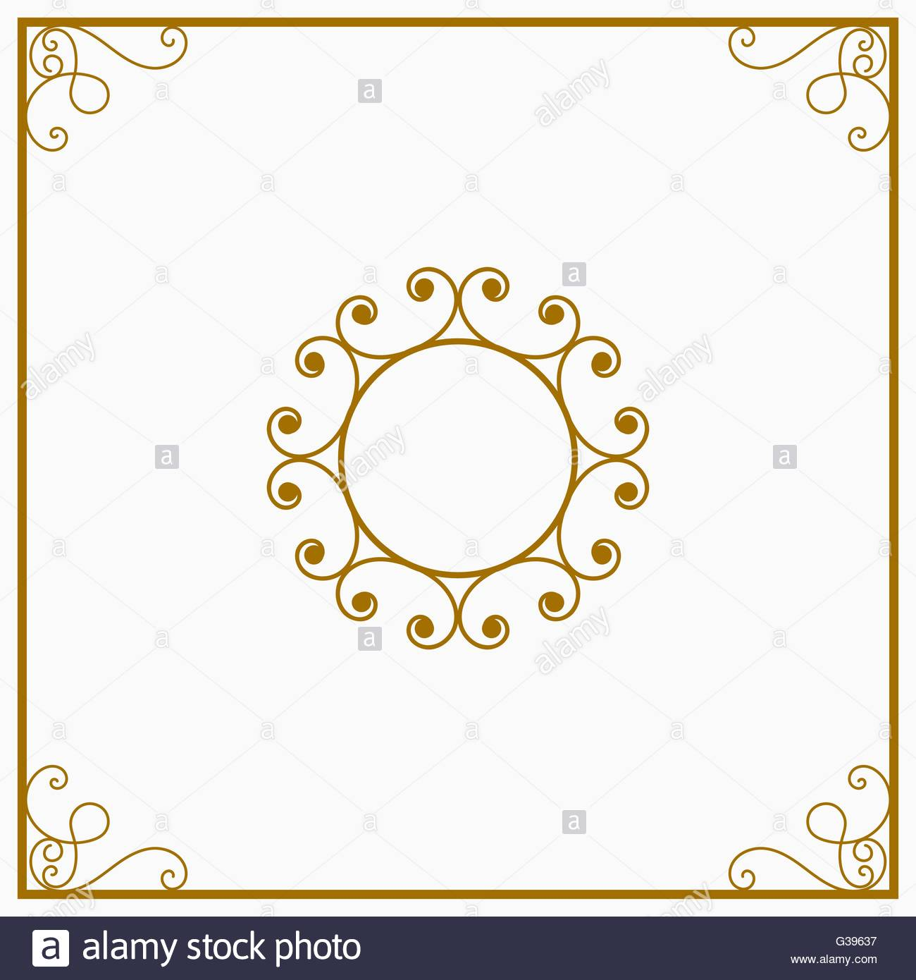 Round yellow and gold a retro the card Stock Vector