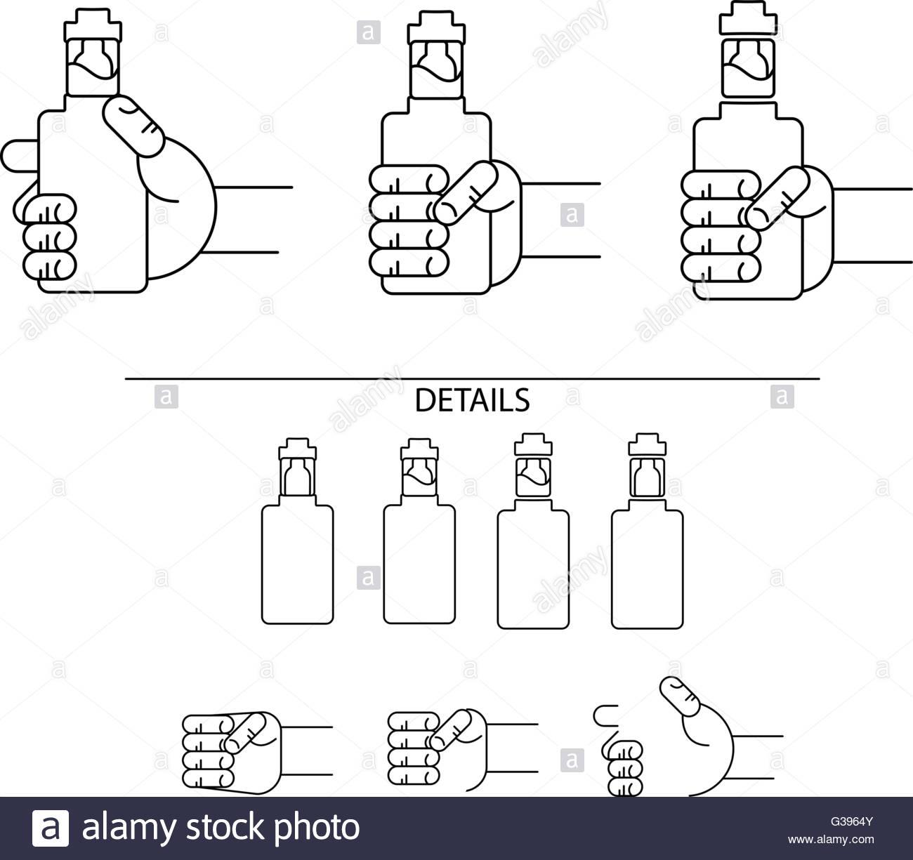 icons electronic cigarettes - Stock Image