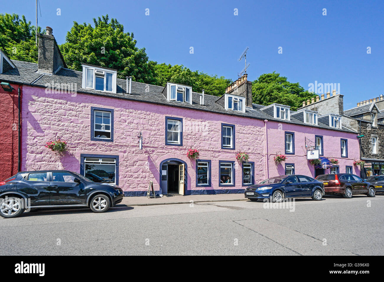 The Tobermory Hotel in Tobermory Mull Scotland - Stock Image
