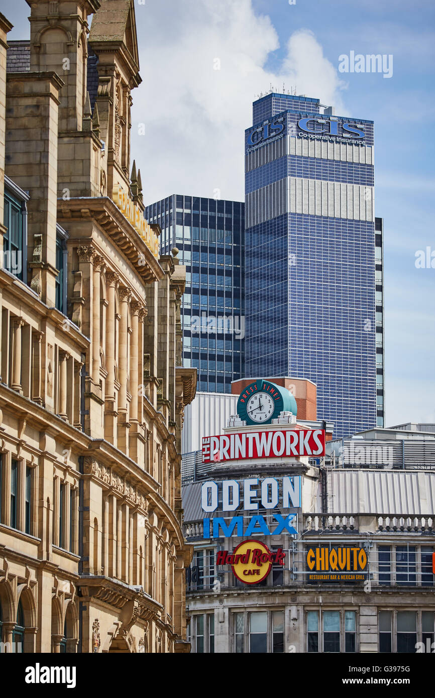 CIS tower the  Printworks and The Corn Exchange in Exchange  Square signs buildings tight - Stock Image