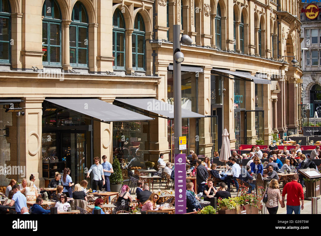 The Corn Exchange in Exchange  Square signs buildings tight Restaurant dining food eating eating drinking  out date - Stock Image