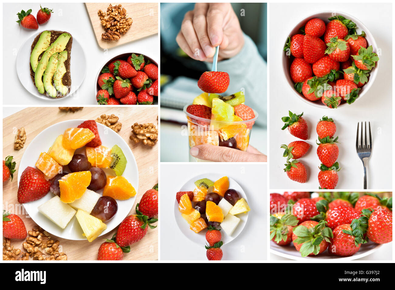 a collage of six pictures of collage of different meals made with fruits, such as avocado, strawberries, orange, - Stock Image