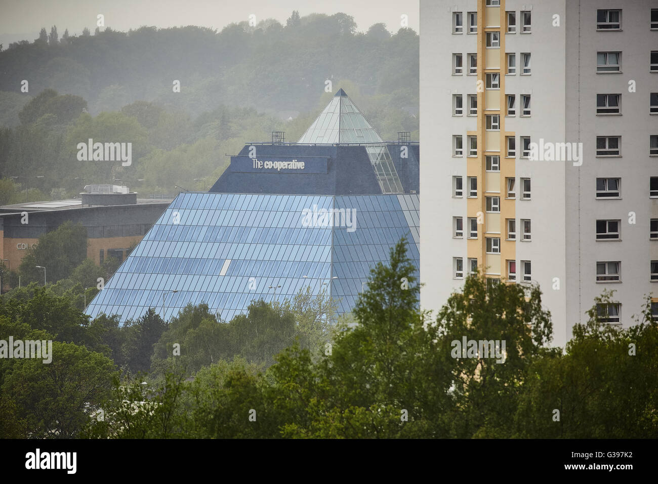 Stockport cooperative coop banking building pyramid   view beyond trees The 'Stockport Pyramid' was designed - Stock Image