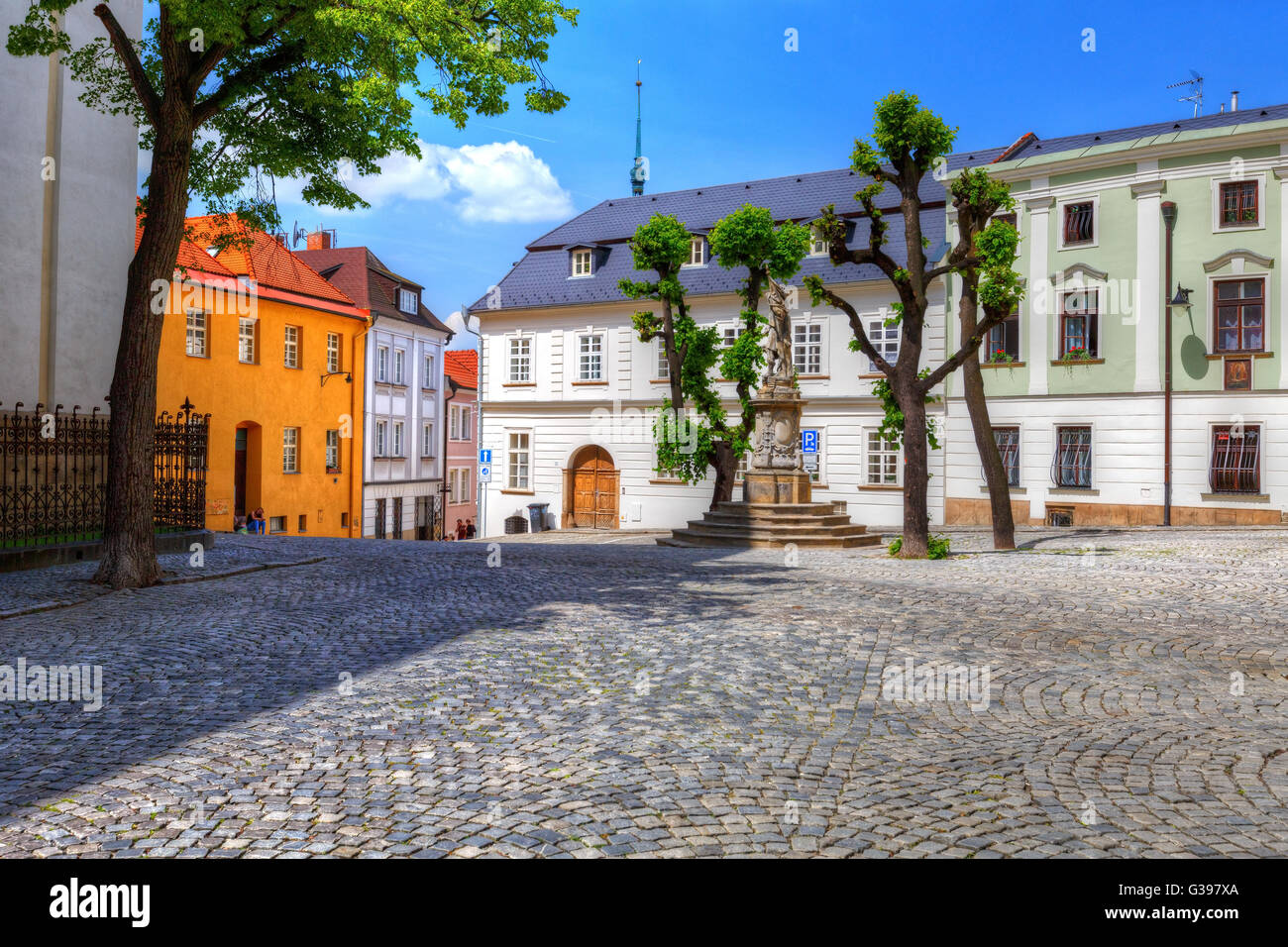 Streets in the old town of Olomouc, Czech Republic. HDR image. - Stock Image