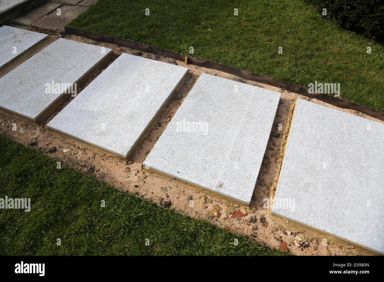 Superb Laying New Garden Path New Concrete Slabs Surrey England