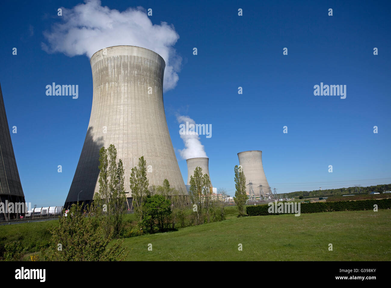Cooling towers  EDF nuclear power plant Dampierre-en-Burly France - Stock Image