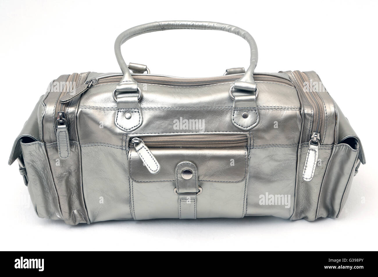 Silver Grab Bag With Pockets - Stock Image
