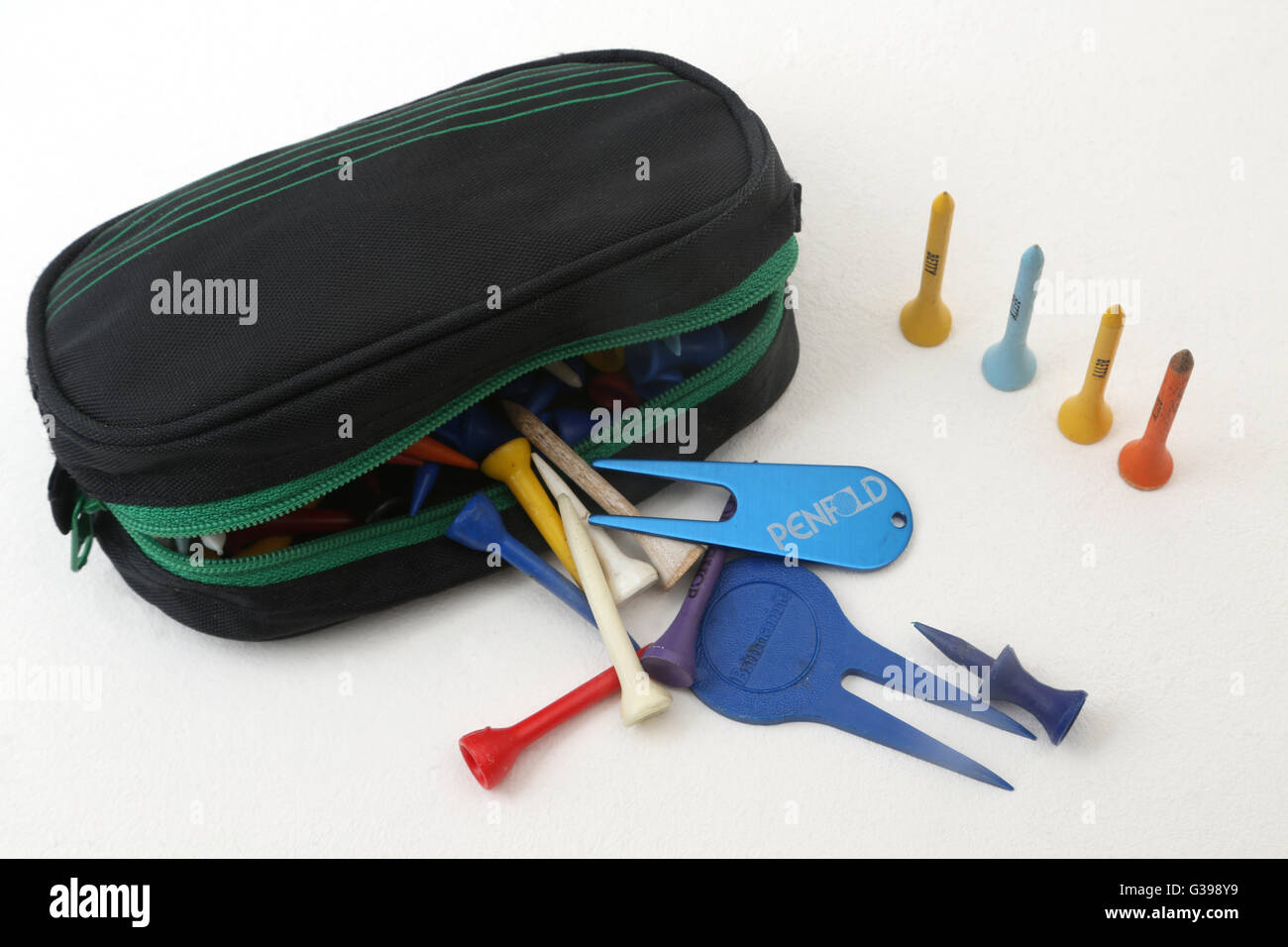 Bag Full Of Golf Tees - Stock Image