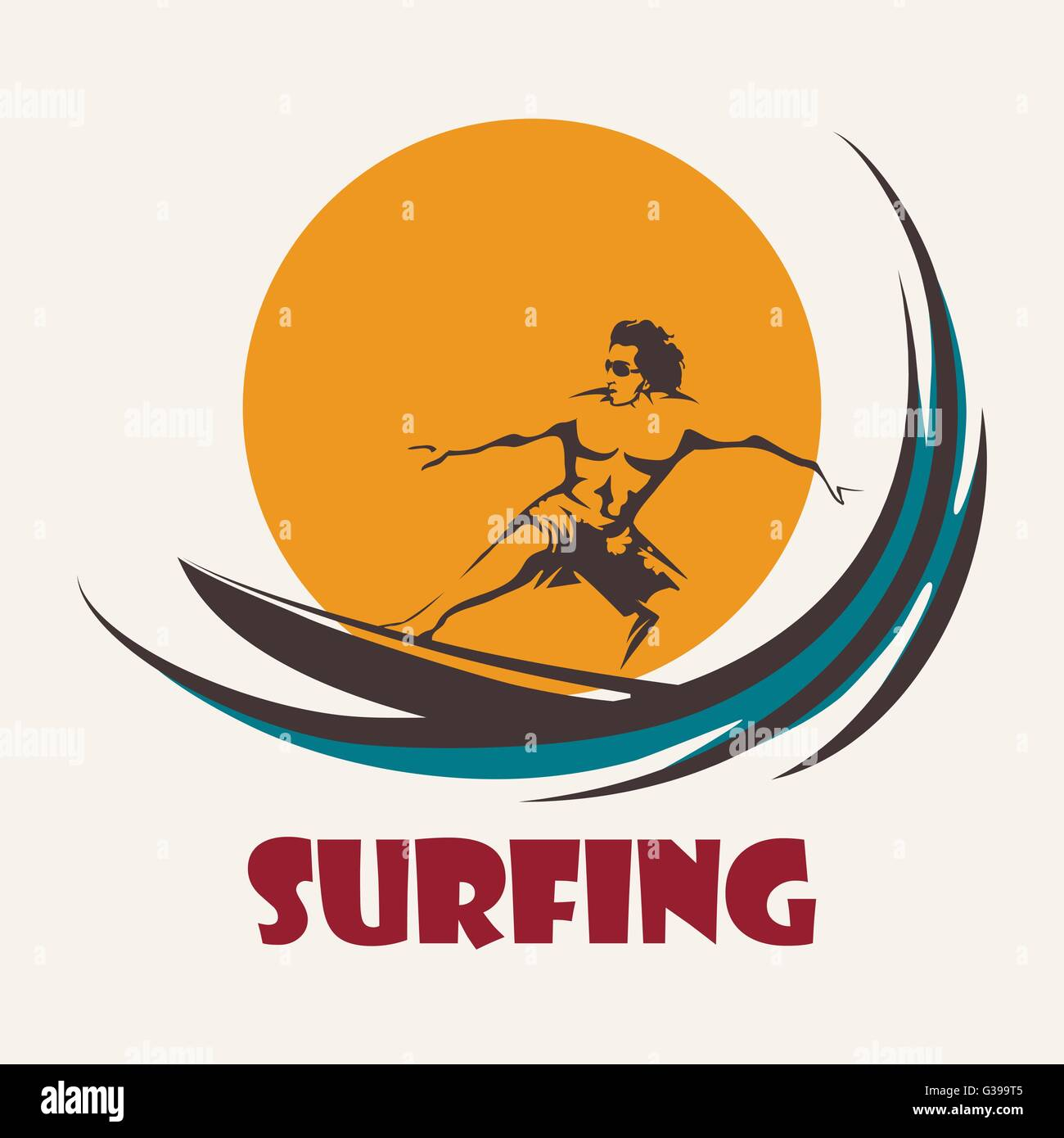 Surfer rides on a long board. Surfing club emblem. Isolated on white background. - Stock Vector