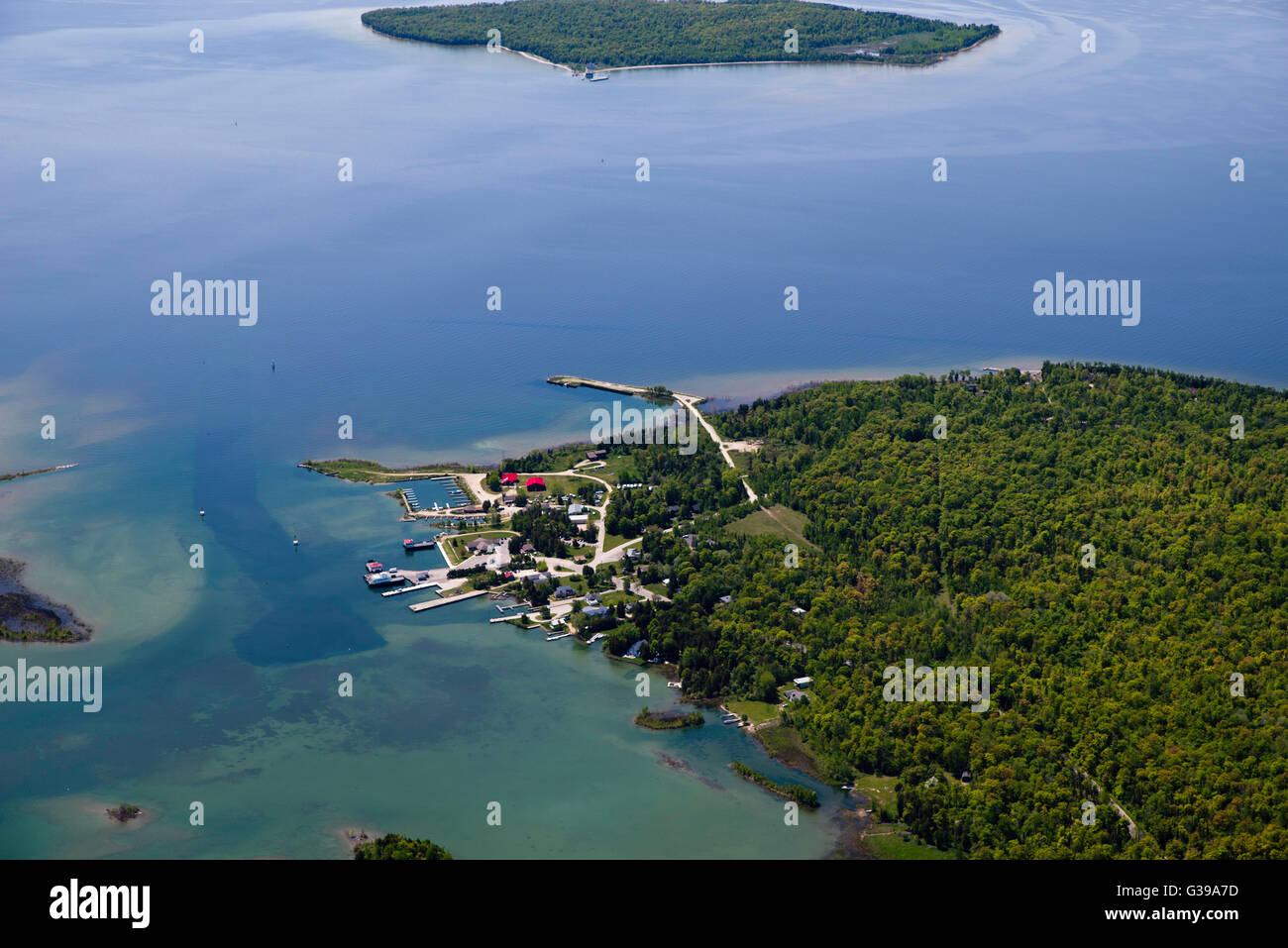 Aerial view of Washington Island Door County Wisconsin; Plum Island appears at the top of the photograph. & Aerial view of Washington Island Door County Wisconsin; Plum ...