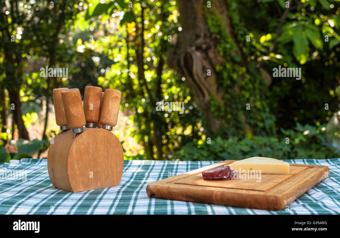 Sausage and cheese on a wooden chopping board outside in summer - Stock Image