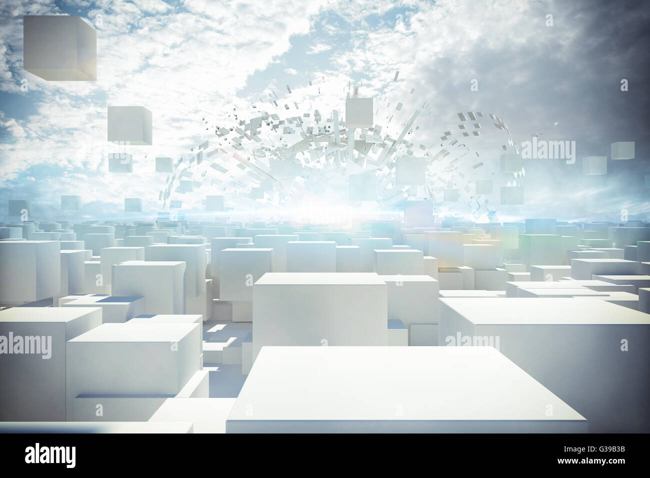 Futuristic city 3d rendering - Stock Image