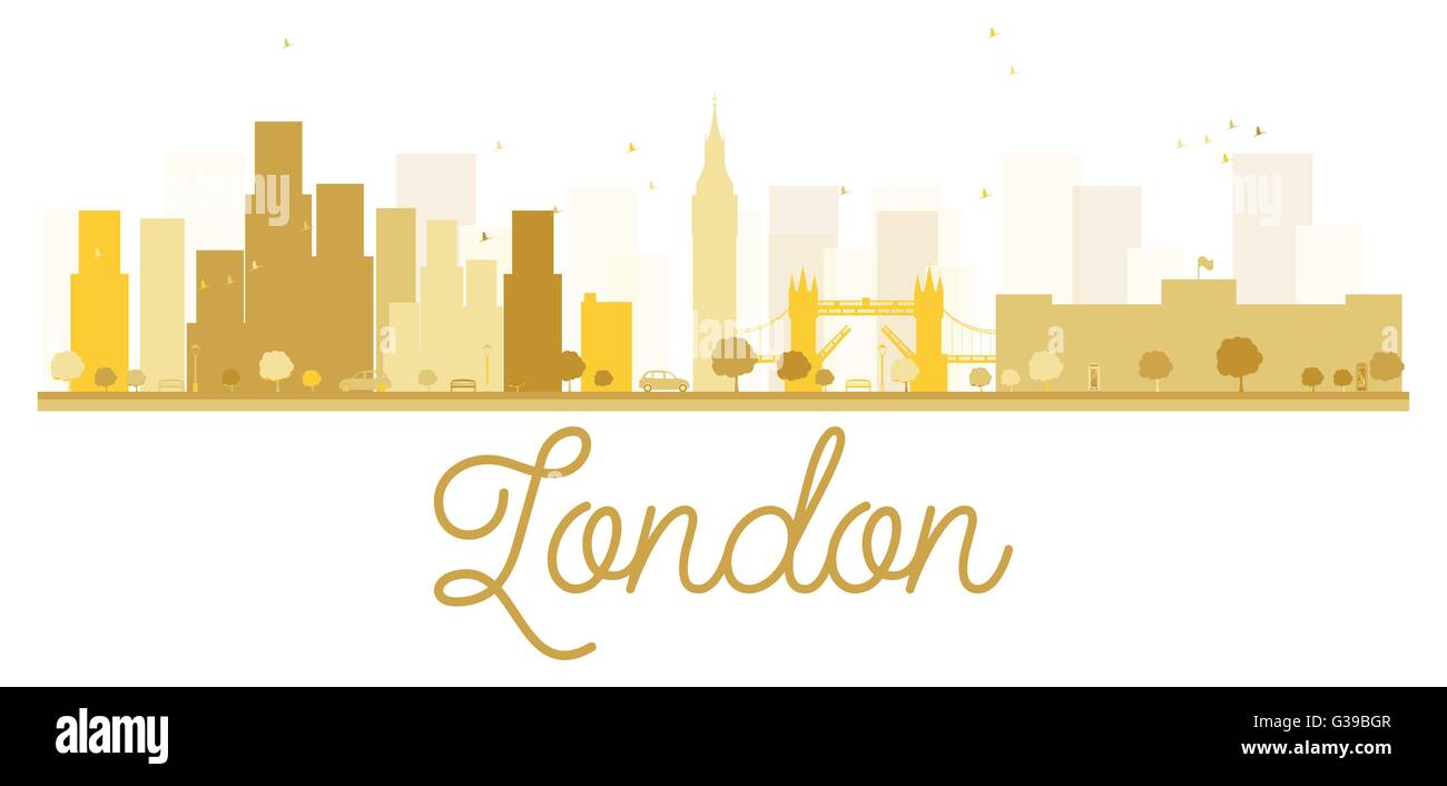London City Skyline Golden Silhouette Vector Illustration Simple Flat Concept For Tourism Presentation Banner Placard Or Web