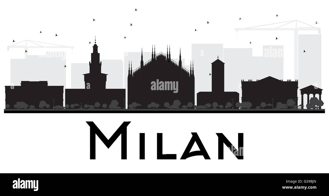 Milan City skyline black and white silhouette. Vector illustration. Simple flat concept for tourism presentation, - Stock Vector