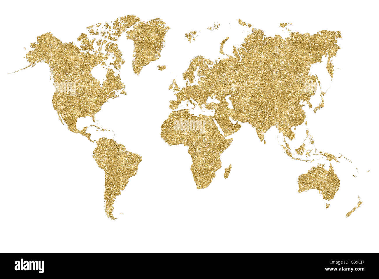 World map filled with gold glitter and sparkles - Stock Image