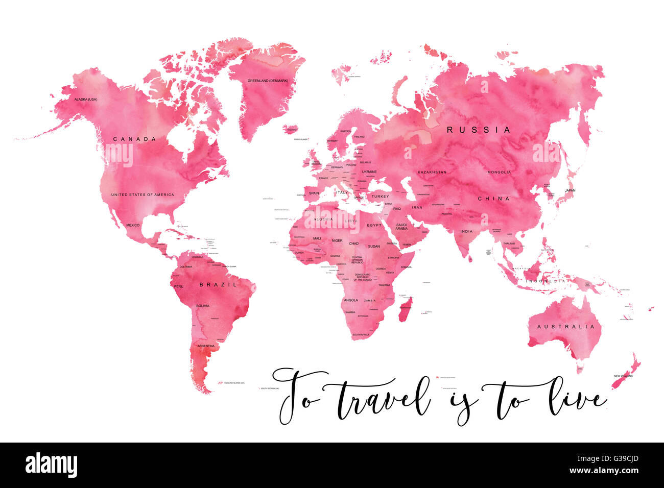 World map filled with pink watercolour effect and country names world map filled with pink watercolour effect and country names with the quote to travel is to live gumiabroncs Images
