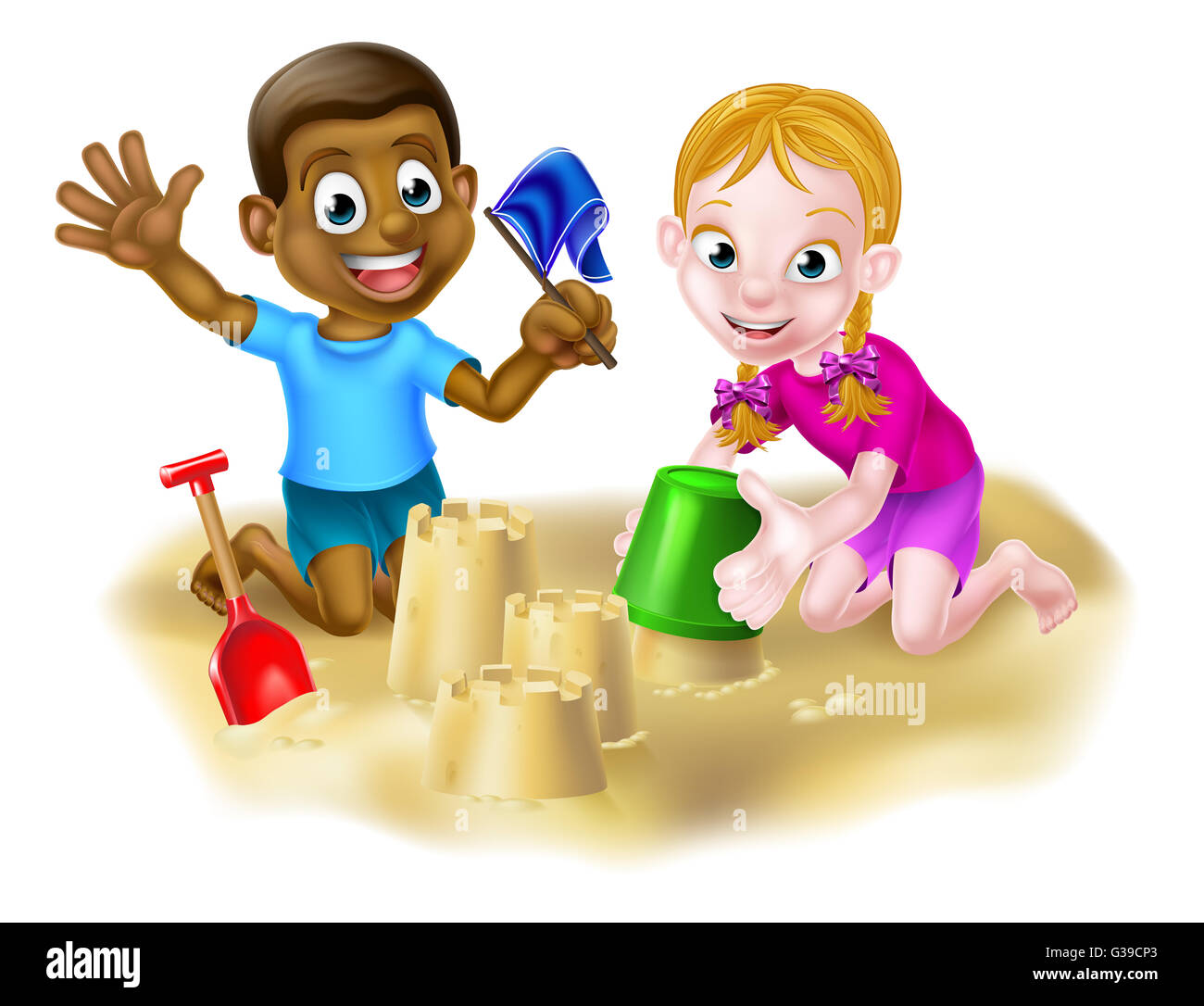 Cartoon Friends Playing On The Sand With A Bucket And Spade Making