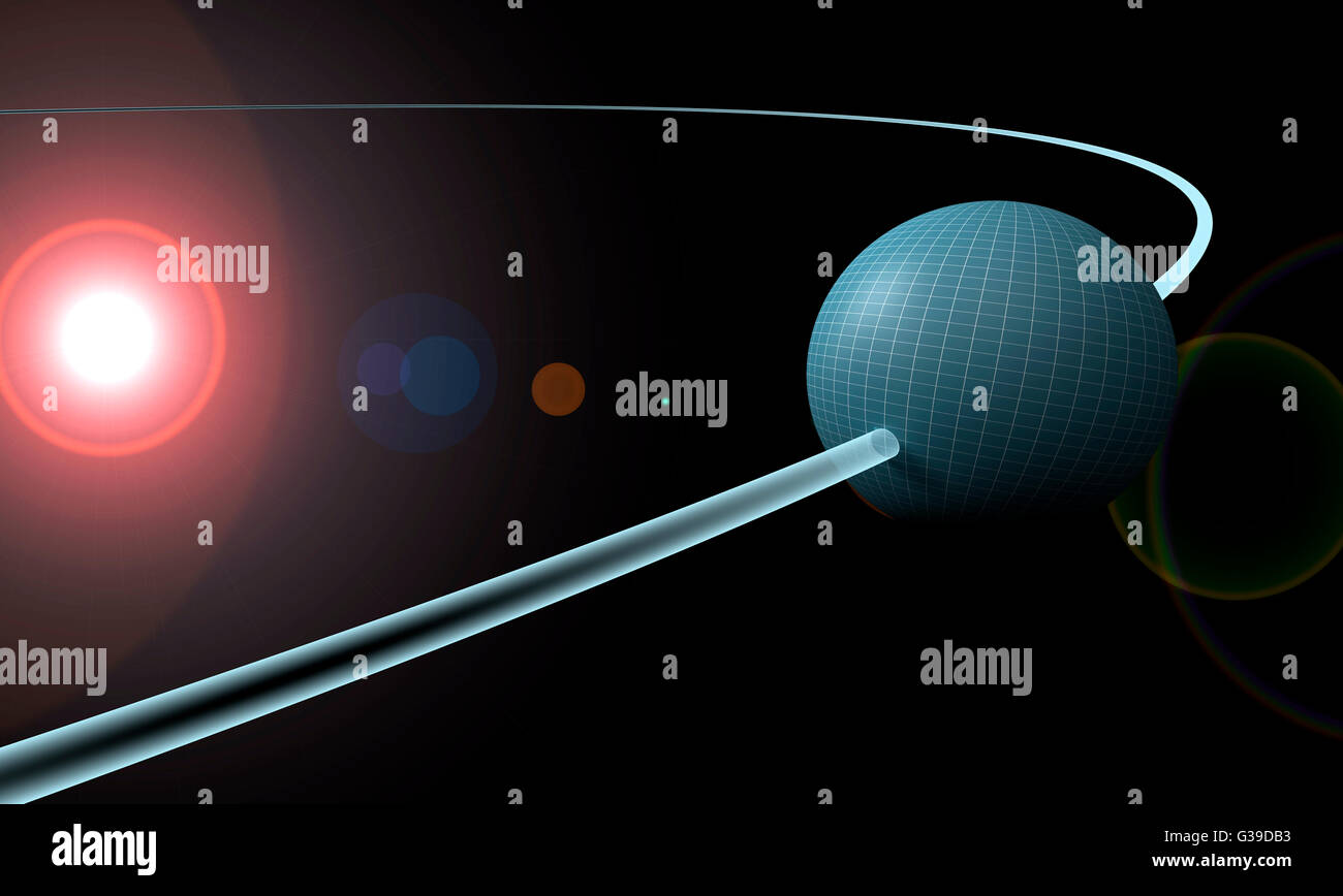 sphere or planet is orbiting a sun. - Stock Image