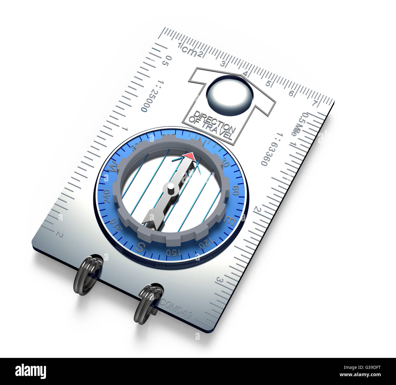 metal compass tool with rulers isolated on white. - Stock Image
