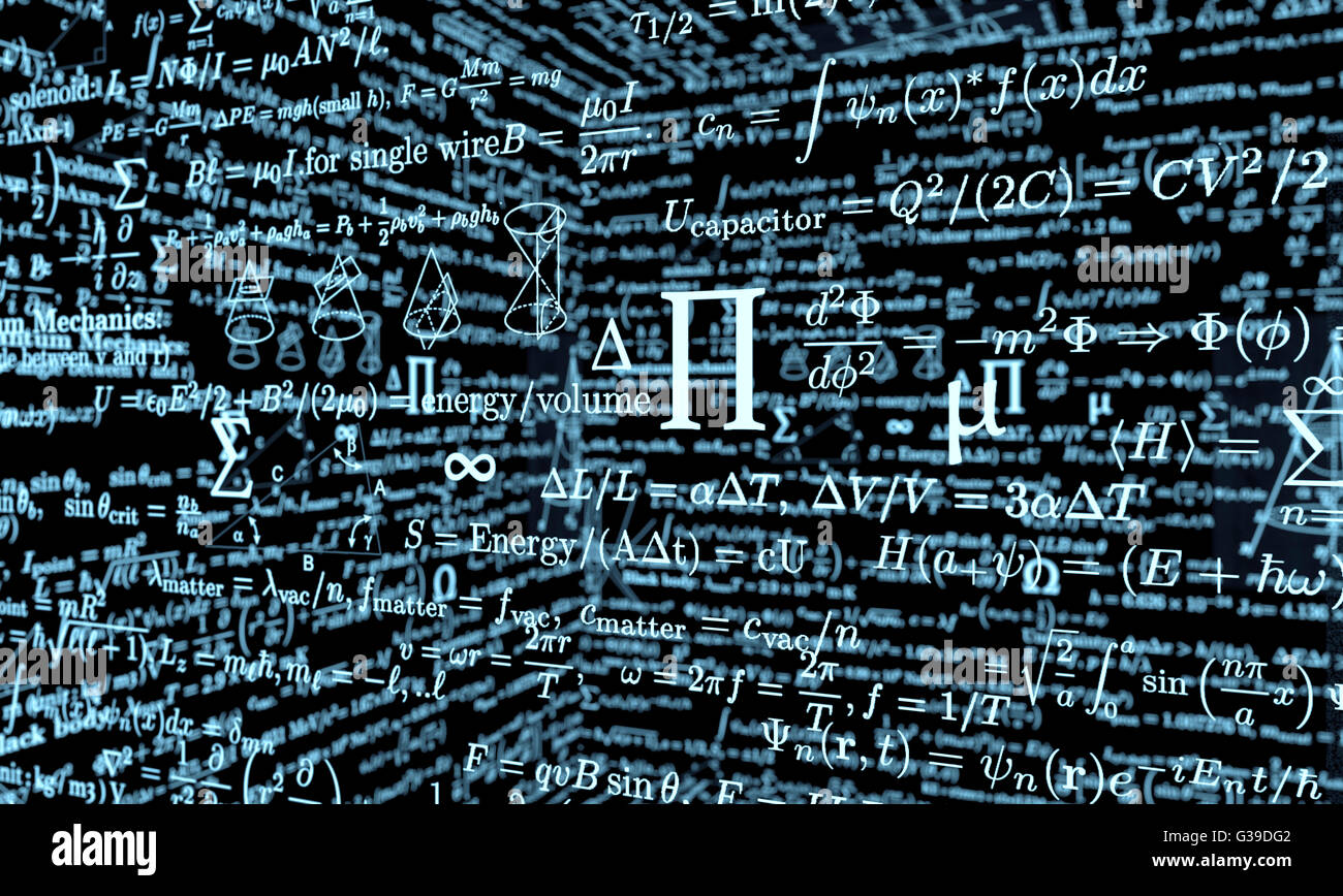 black mathematics board with formulas - Stock Image