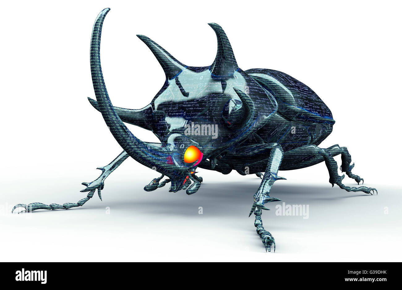 digital safety concept computer bug isolated on white. - Stock Image