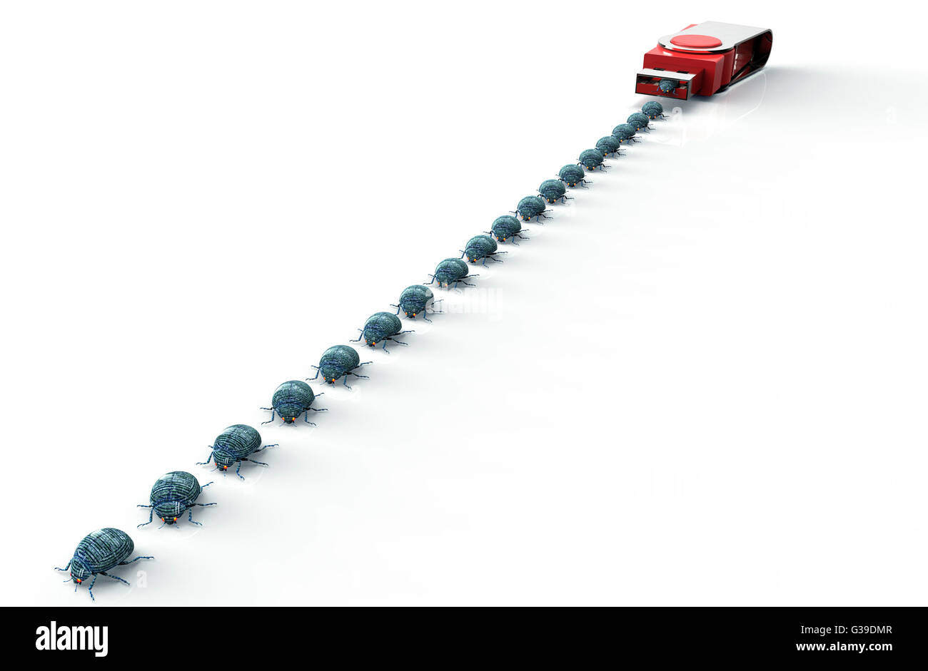 digital safety concept computer bug on usb stick, 3D illustration - Stock Image