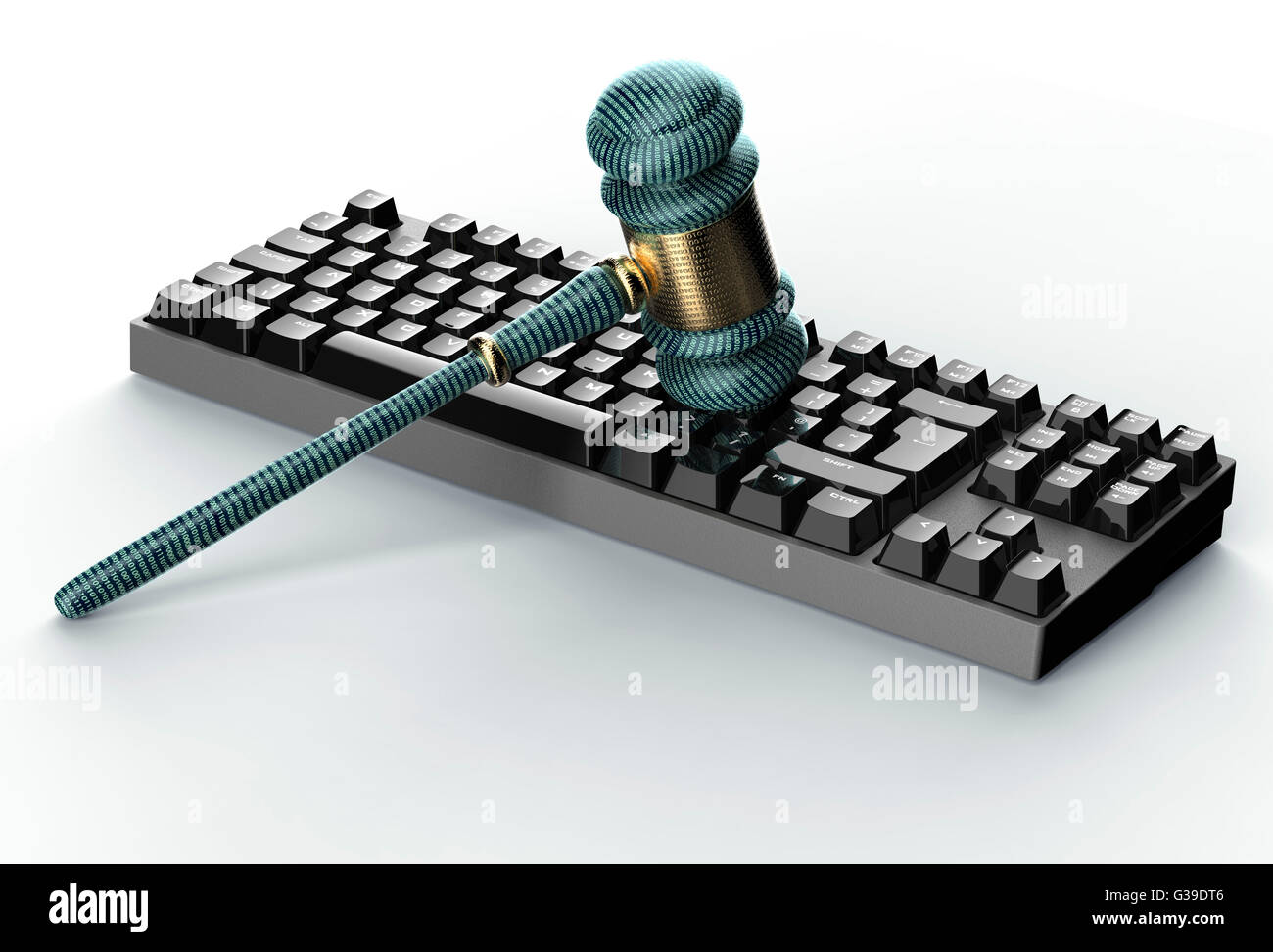 legal computer judge concept, cyber gavel on computer keyboard,3D illustration - Stock Image
