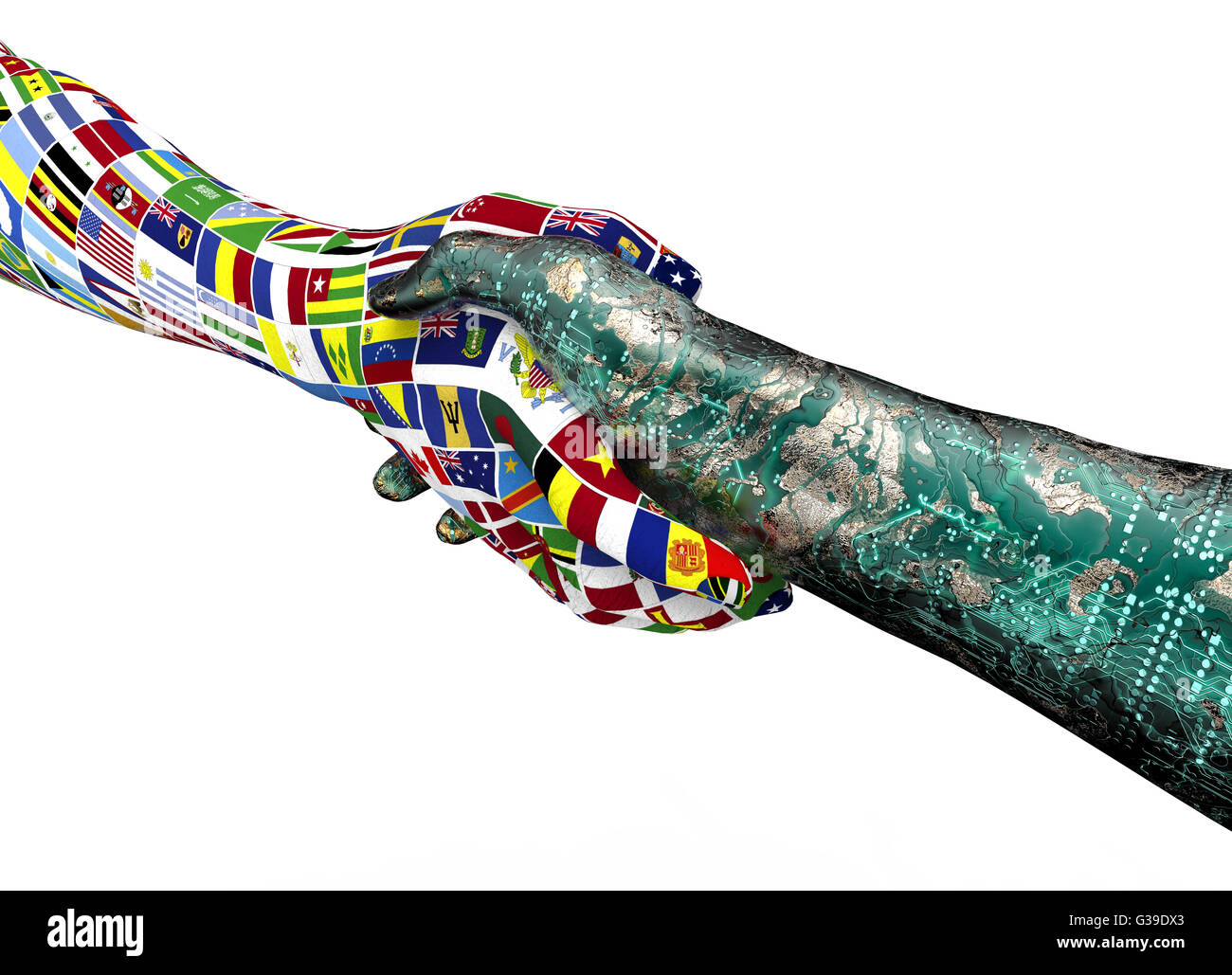 world nations hand shaking robothand isolated on white with clipping path, 3d illustration - Stock Image