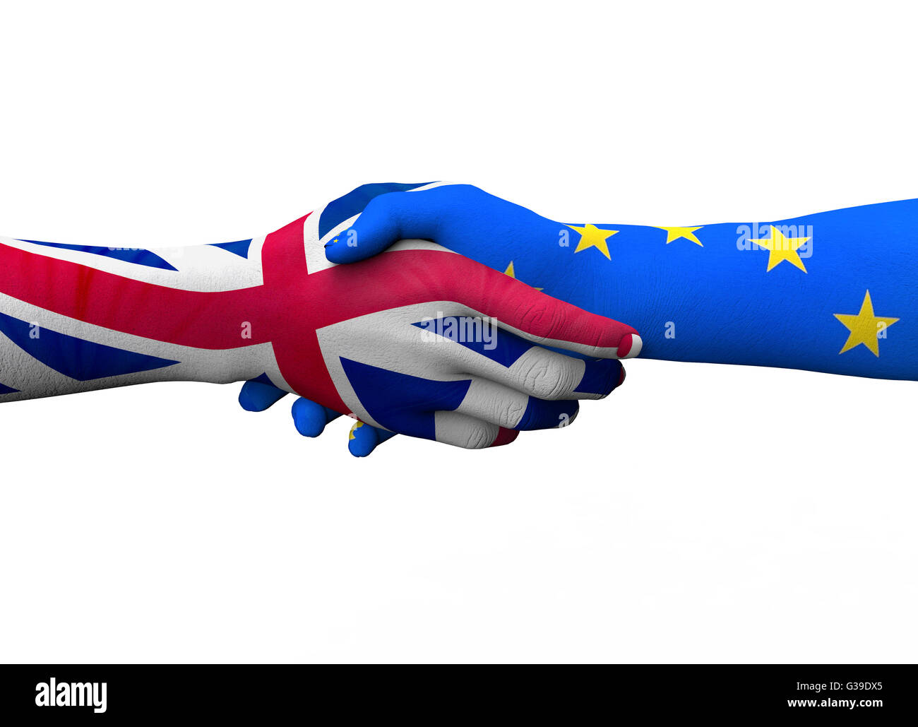 englisch hand shaking european hand isolated on white with clipping path, 3d illustration - Stock Image