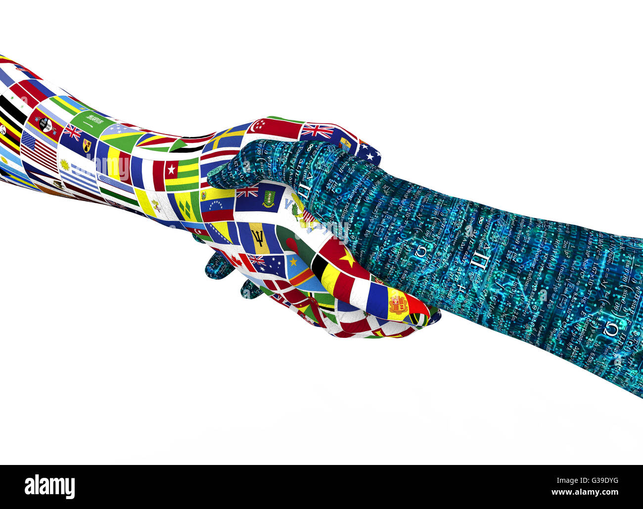 world nations hand, shaking robothand isolated on white with clipping path, 3d illustration - Stock Image