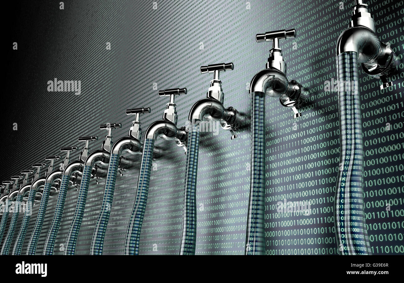 concept of leaky software, data with a tap sticking out.3d illustration - Stock Image