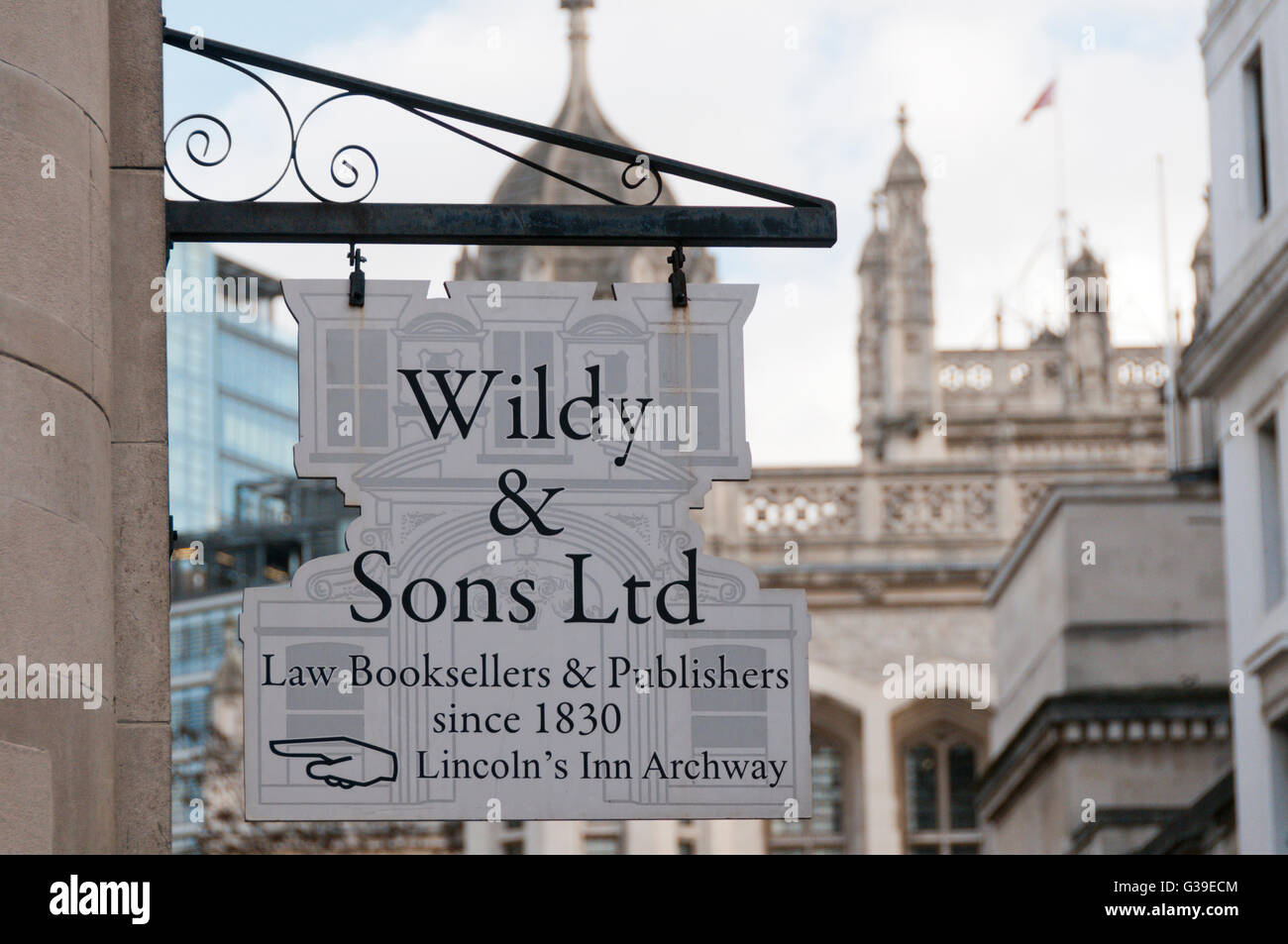 A sign for Wildy & Sons Ltd, law booksellers in London. - Stock Image