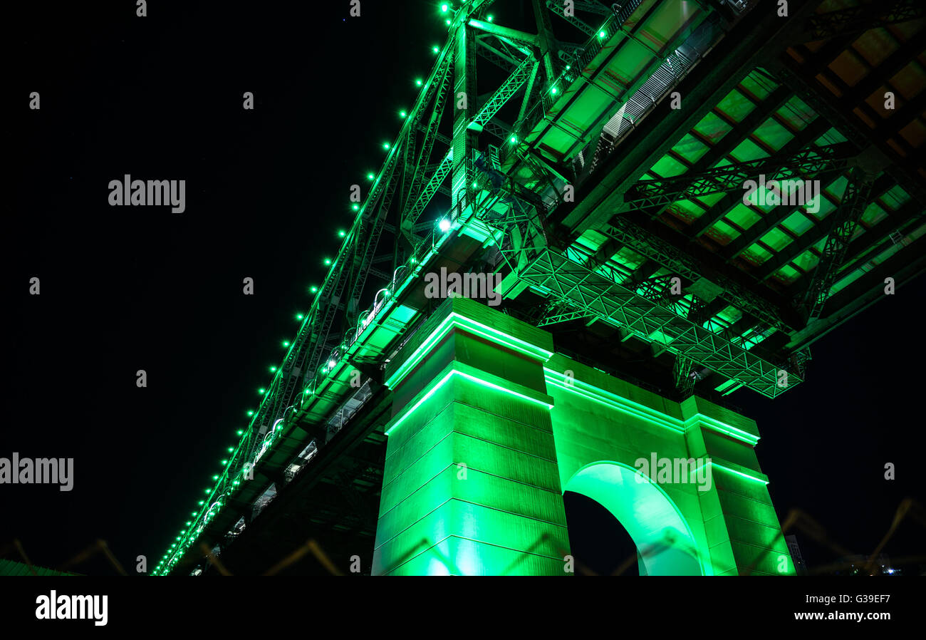 Closeup of the Brisbane Story Bridge. One of the main icons in Brisbane city. - Stock Image