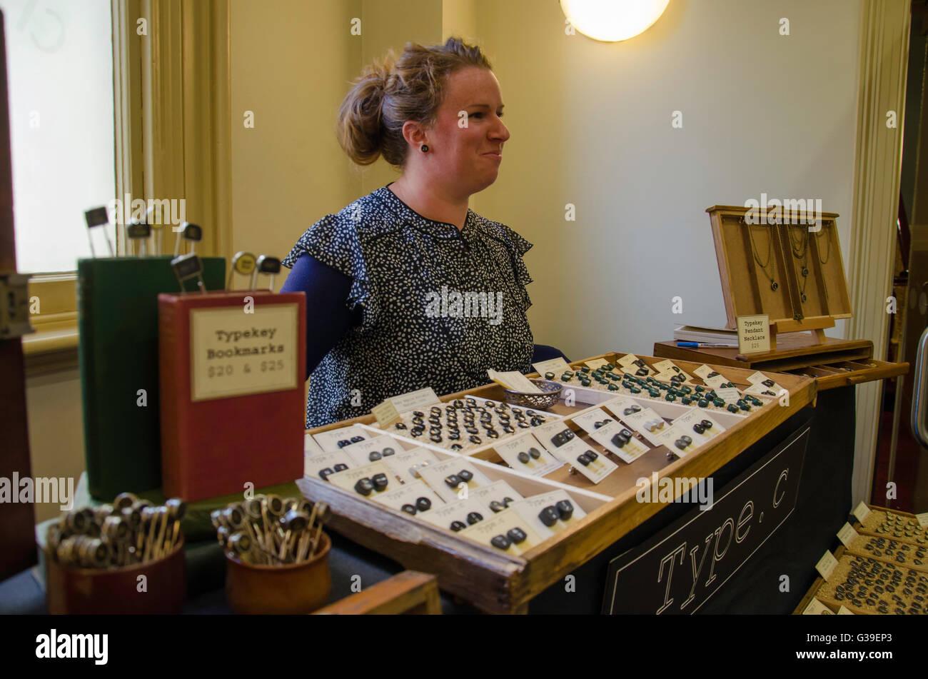 Type C Typewriters Reincarnated stall at The Creators Market in Prahran in Melbourne Australia - Stock Image